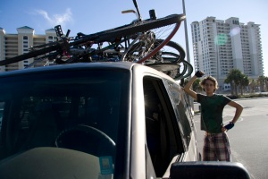brian's van with load of polo bikes